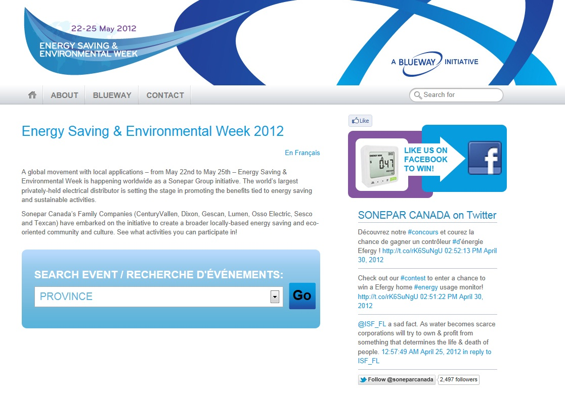 Sonepar Canada's Energy Saving & Environmental Week – May 22-25, 2012
