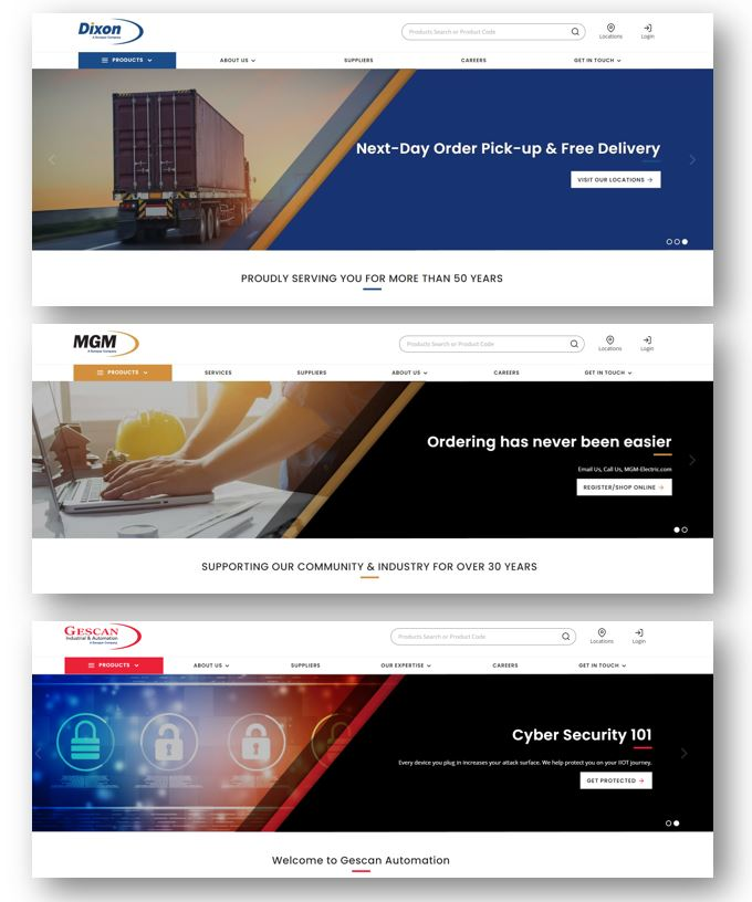 Dixon Electric, MGM Electric and Gescan Automation launch new Websites/Webshops